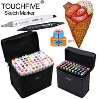 Touchfive30 40 60 80 Cores Arte Conjunto Marcador Oleosa Álcool dupla Com A Cabeça Descoberta Mangá Esboço Artista Pintar Marcadores Pen Para Animação projeto