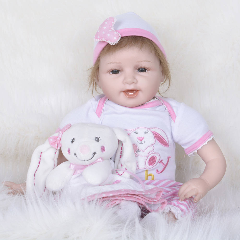 55cm Girl Baby Reborn Dolls with Pink Clothes Princess Lifelike Toys For Kids Gifts pink wool coat doll clothes with belt for 18 american girl doll
