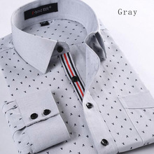 2017 Autumn Hot Sale Fashion Men Casual Long Sleeve Shirts,Pointed Polka Dot Printed Slim Fit Cotton Shirts Plus Size S-4XL
