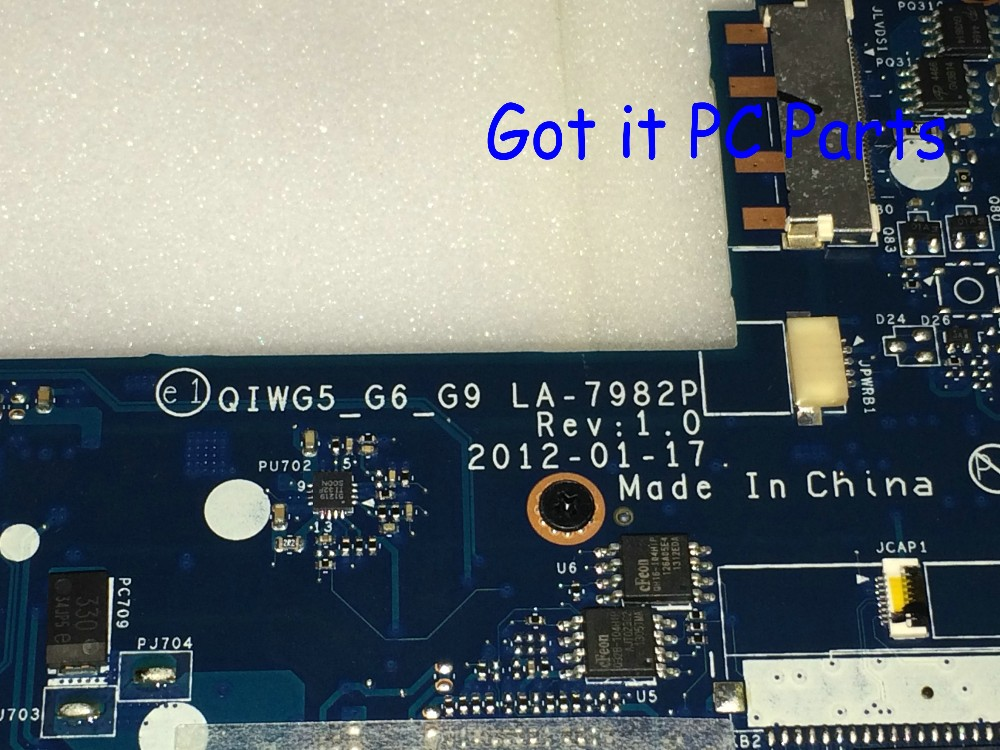 GIWG5_G6_G9 REV : 1.0 LA-7982P PROMISED WORTKING +FREE SHIPPING NEW LAPTOP MOTHERBOARD FOR LENOVO G580 NOTEBOOK PC