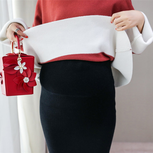 Fashionable Woolen Stretch Knit Skirt for Pregnant Women