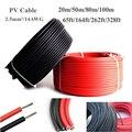 20 м/50 м/80 м/100 м 2,5 мм/14AWG PV солнечный кабель провод медный проводник TUV черный + красный кабель 65ft/164ft/262ft/328ft