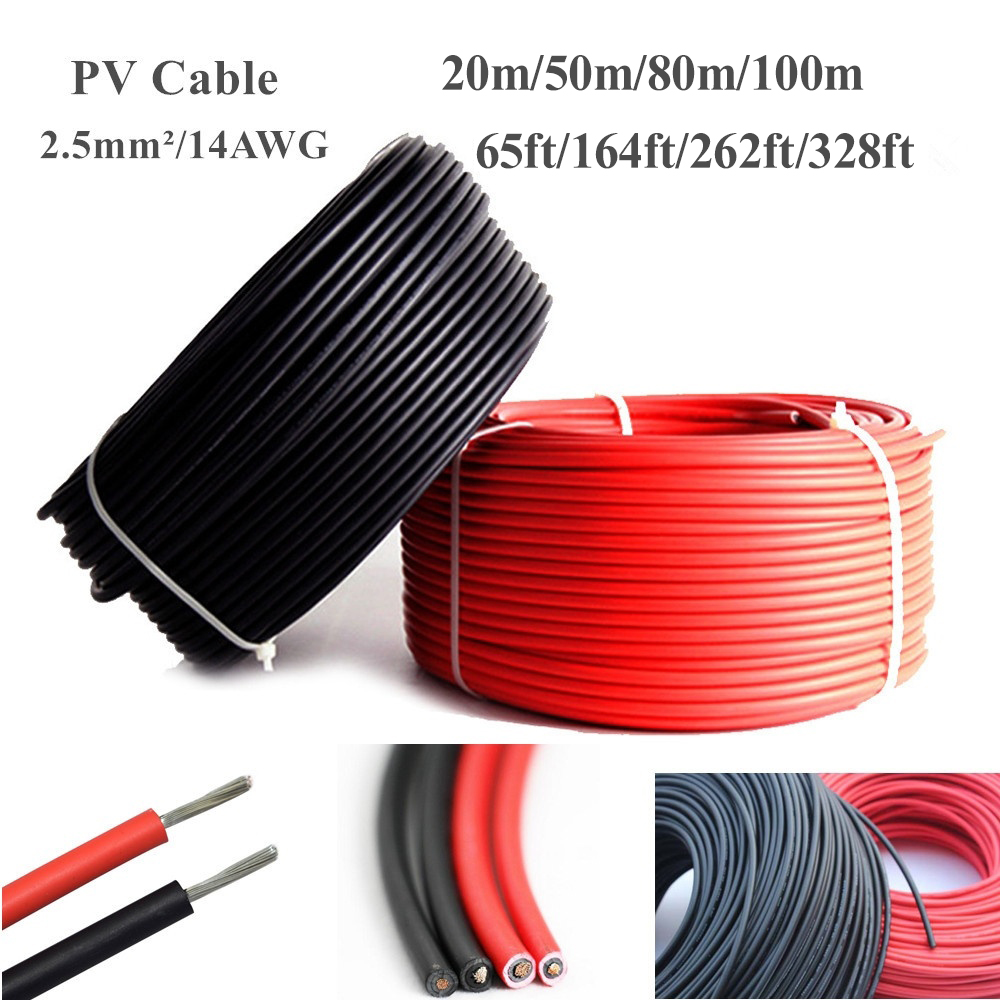 20m/50m/80m/100m 2.5mm/14AWG PV Power Solar Cable Wire Copper Conductor TUV Black + Red Cable 65ft/164ft/262ft/328ft