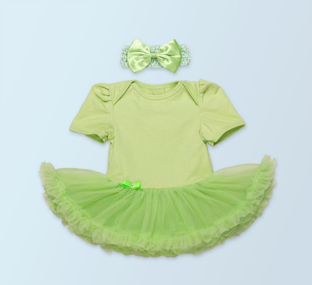 0e33c9786 2PCs per Set Newborn Infant Girl Clothes Green Baby Girls Tutu Dress with  Bowtie Headband for 0-24Months