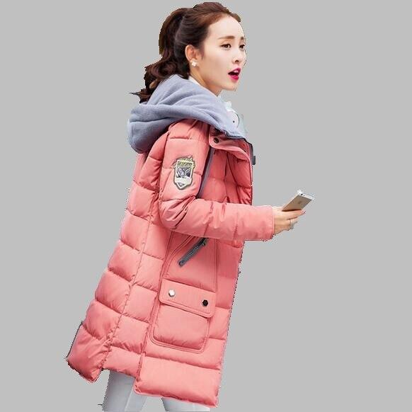 2016 Yeni Kış Kadın Coat Orta uzunlukta Kapşonlu Pamuk Ceket Kore Moda Ince Ceket Büyük boy Eğlence Aşağı Sıcak ceket AB146