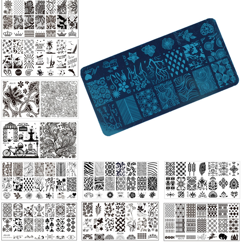 1 st nagelkonst stämpel stämpling bildplatta 6 * 12 cm rostfritt stål nagelmall manikyr stencil verktyg, 20 stilar för att välja
