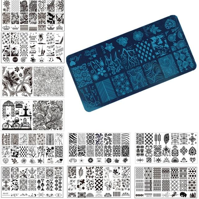 Pcs Nail Art Stamp Estamparia Imagem Placa 1 6*12 cm Template Stencil Manicure Do Prego de Aço Inoxidável Ferramentas, 20 estilos Para Escolher