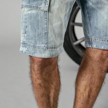 100% cotton denim cargo slim fit men's shorts