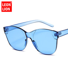 LeonLion Fashion Vintage Rimless Sunglasses Women One-piece Sun Glasses Men Candy Colors Oculos Feminino Luxury Brand HD Eyewear