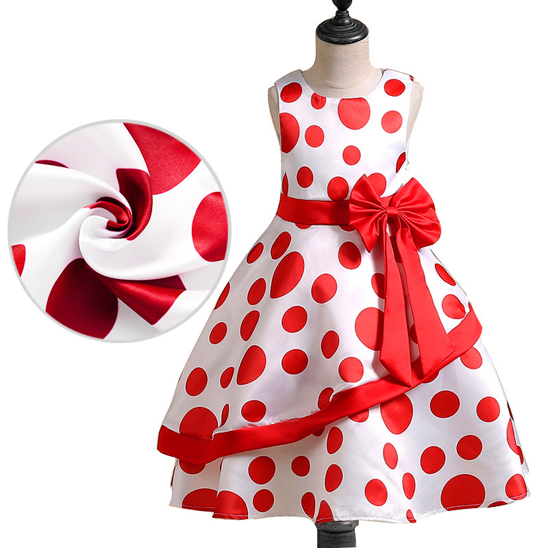 Girls Evening Gowns Tutu Dress Ball Gowns O Neck Sleeveless Spot Bowknot Clothes Party Bubble Princess Communion Dress floral flower printed ball gowns with belt 2016 summer o neck short sleeve princess dress for party frocks evening prom dress