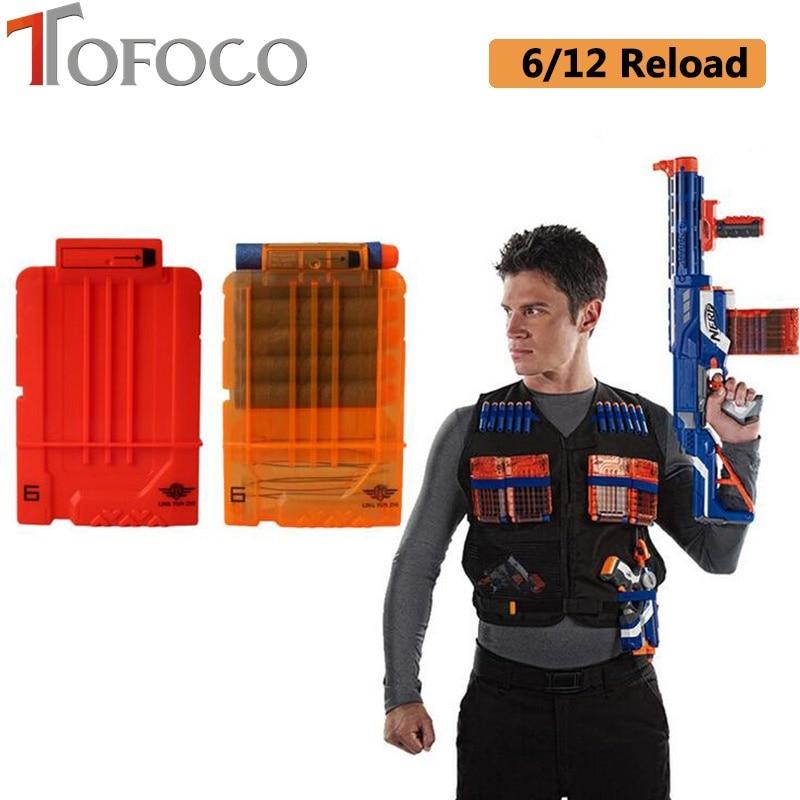 Tofoco 6/12 Reload Soft Bullet Gun Clips For Toy Gun Bullets Ammo Cartridge Dart For Gun Clips Demand Exceeding Supply Toys & Hobbies