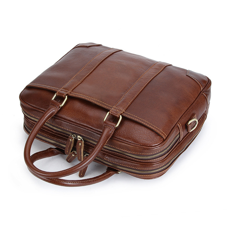 100% Cow Genuine Leather Business Men's Briefcase Male Shoulder Bag Real Leather Luxury Messenger Bag Tote Computer Bag 14 Inch