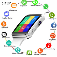 Купить с кэшбэком GIAUSA X6 Bluetooth Smart Watch with Screen Support SIM TF Card Camera Touch Smart watch for iPhone Xiaomi Android Phone PK GT08
