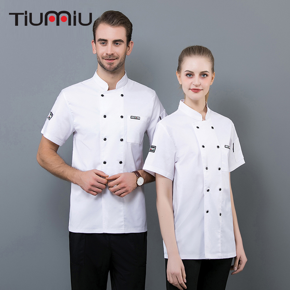 Unisex Chef Jacket Coat Kitchen Shirt Summer Breathable Overalls Restaurant Cafe Cook Chef Uniform Short Sleeve Work Clothes