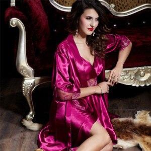 Image 4 - Xifenni Robe Sets kobieta satynowa jedwabna bielizna nocna kobiety seksowny haft koronkowy szlafroki dwuczęściowy sztuczny jedwab sukienka do spania 20242