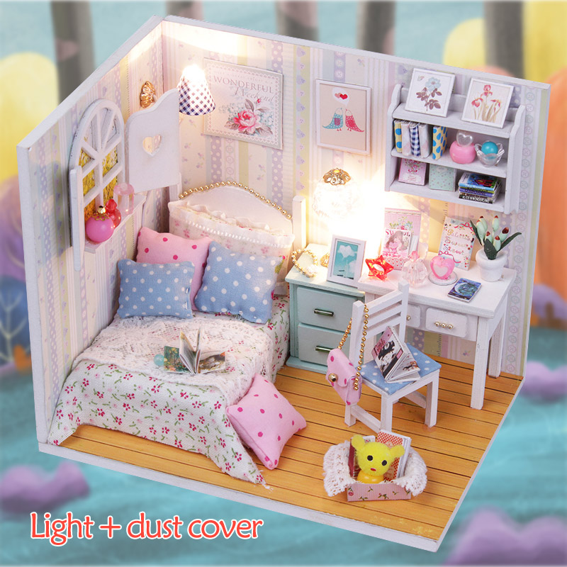 DIY Doll House Miniature With Furnitures Wooden House Gorgeous Morning Light Stars Sky Toys For Children Birthday Gift M013