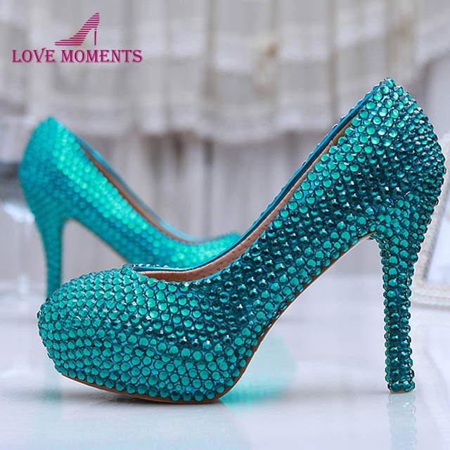 be1feb21c74 High Heel Blue Crystal Prom Shoes New Customized Amazing Royal Blue Wedding Shoes  Crystals And Rhinestone Pumps Bridesmaid Shoes