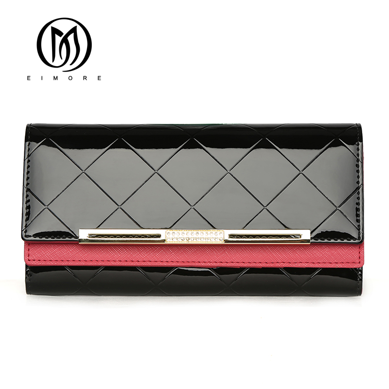 EIMORE Luxury Designe Women Wallet Patent Leather Long Wallet Female Fashion Purse With Diamonds Card Holder Women Clutch Wallet недорго, оригинальная цена