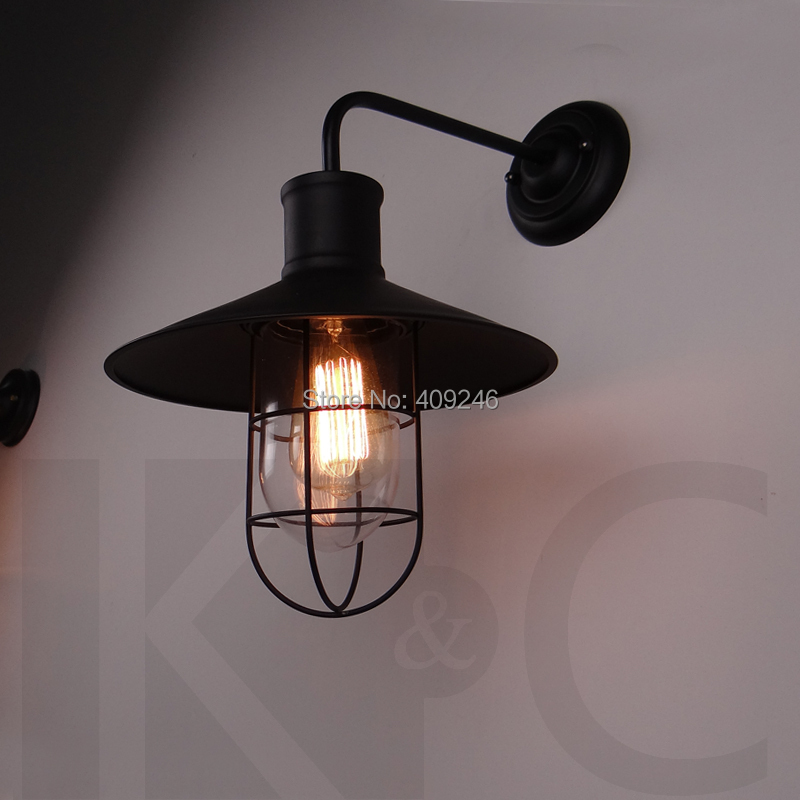 ФОТО LOFT Nordic Edison Wrought Iron Glass Wall Lamp Industry Wind Black/White Edison Wall Light Cafe Bar Hall Coffee Shop Restaurant