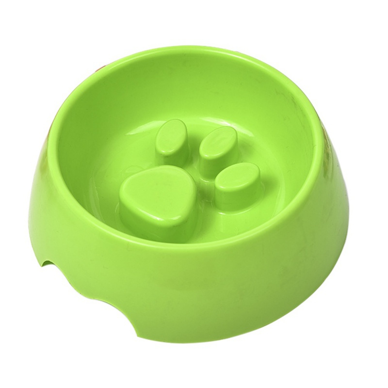 Hot Sale Pet Puppy Dog Cat PP Plastic Cute Pet Feeding Bowl For Dog Cats Plastic Paw Print Slow Feeder Bowl