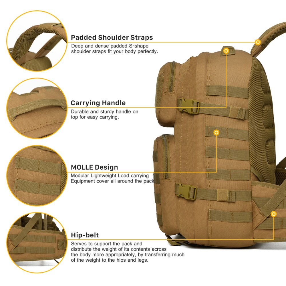 Mountaintop Military Tactical Assault Backpack Army Molle Webbing ...