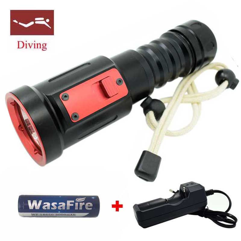 New Powerful 5000Lumens LED Diving flashlight XM-L2 Underwater light Powerful lamp for underwater hunting Led Diving Torch 3000 lumen xml l2 led diving flashlight torch diving powerful led flashlight waterproof underwater hunting light