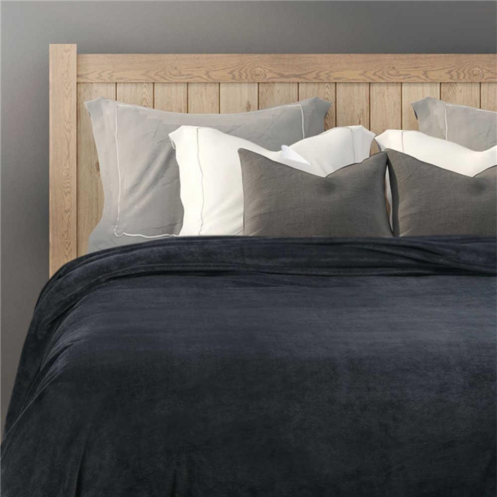 Однотонное зимнее пушистое фланелевое одеяло пушистое теплое мягкое покрывало для дивана покрывало синий черный коралловый флис плюшевое одеяло s для кровати