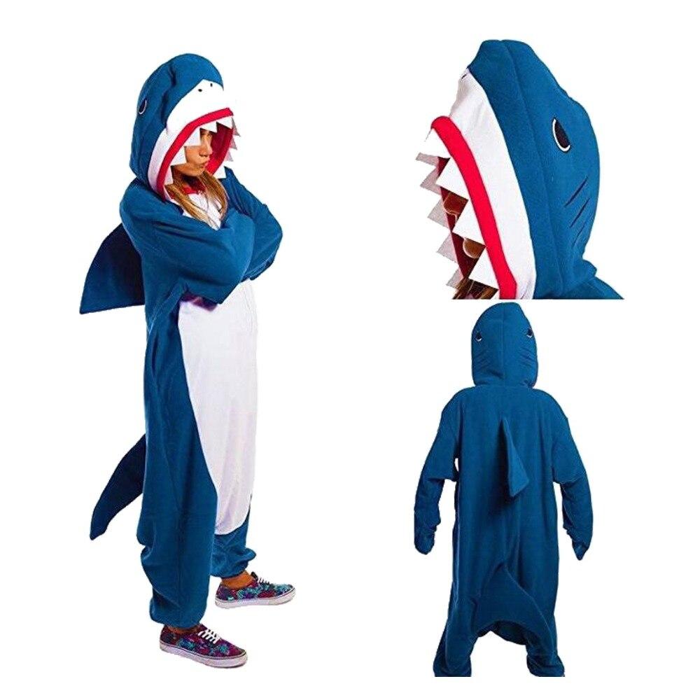 2019 Adults Animal Pajamas Sets Cartoon Sleepwear Unicorn Pajamas Stitch Shark Kigurumi Unicornio Women Men Warm Flannel Hooded