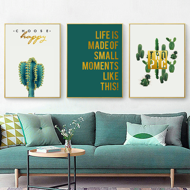 Green Cactus Wall Art Mexican Poster Western Decor Living Room