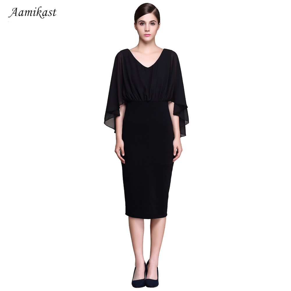 Dresses Intelligent Aamikast Free Shipping New V-neck Fashion Work Sliming Knee-length Pocket Party Elebrity Pencil Dress