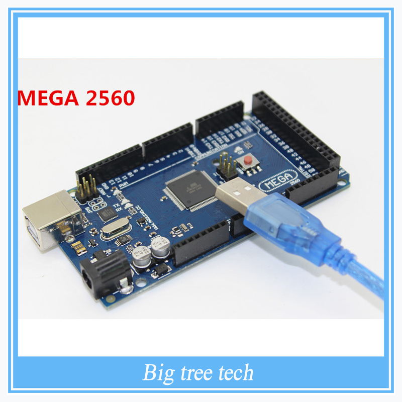 Free Shipping Sduino Mega 2560 R3 Mega2560 REV3 ATmega2560-16AU Board + USB Cable Compatible Good Quality Low Price