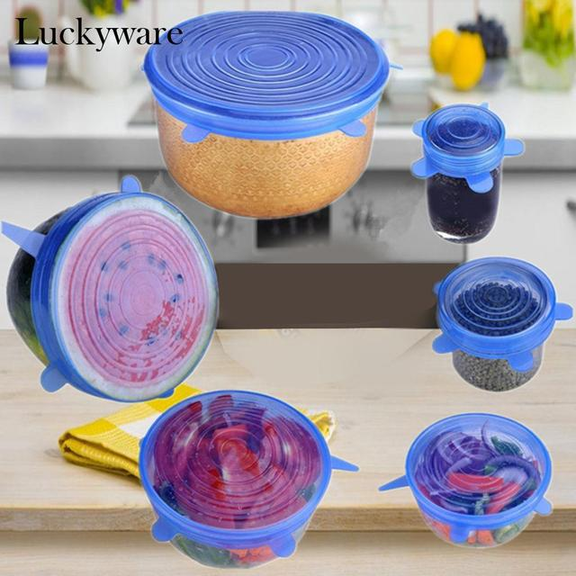 6Pcs Washable Cover Stretch Wrap Silicone Covers Fruit Vegetables preservation Sea Food Pan Bowl Lids Reusable Kitchen Tool