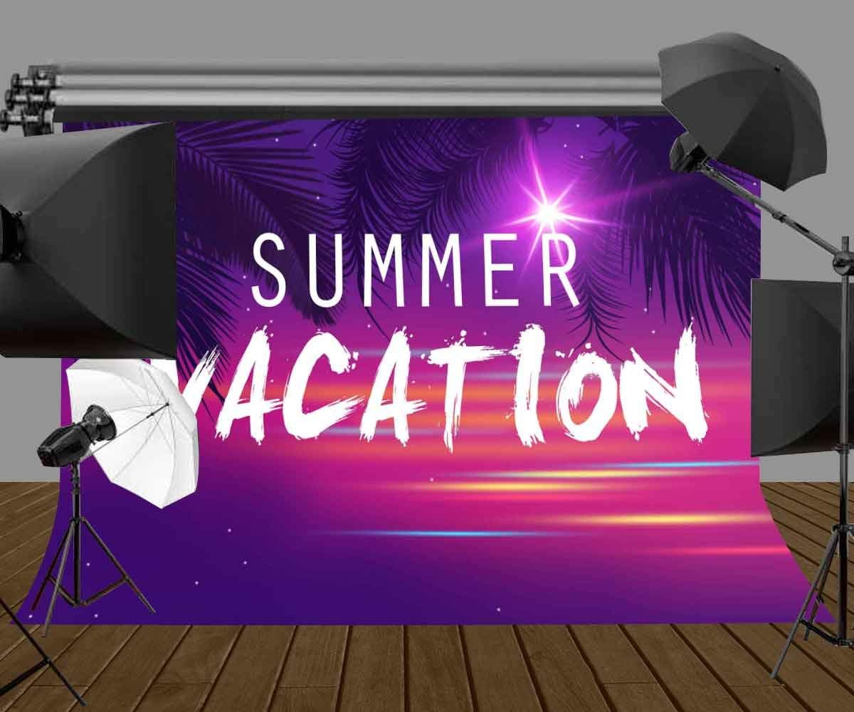 Image 5 - 7x5ft Summer Vacation Backdrop Ultra Violet Color Photo Backdrops Coconut Tree Branch Photography Background Studio Props-in Photo Studio Accessories from Consumer Electronics