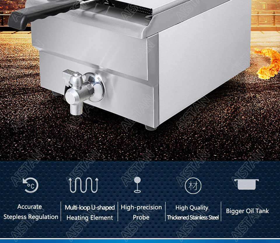 EF101V stainless steel electric deep fryer fried chicken fried potato chips for kitchen appliance 2