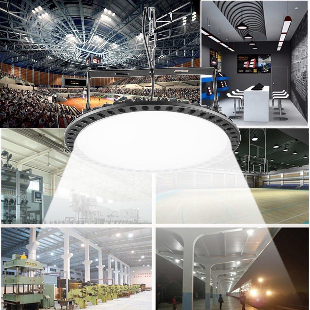 100W 200W 300W ultra ince UFO LED yüksek Bay işıklar sanayi ışık salonu lamba 220V 110V madencilik tavan ışıkları atölye aydınlatma