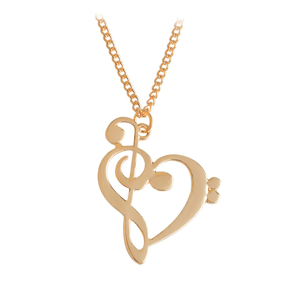 2017 New Fashion Loving Heart Music Note Necklace Hot Gold Silver Plated Necklace Wholesale