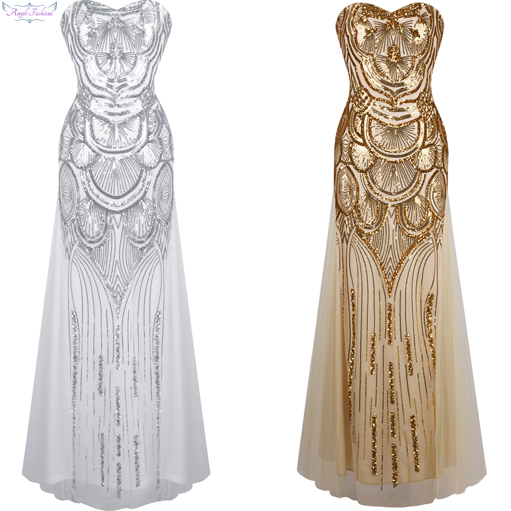 Angel-fashions Strapless Sequined A-line Tulle Lace up Long   Evening     Dresses   vestidos de noche Golden Silver 186