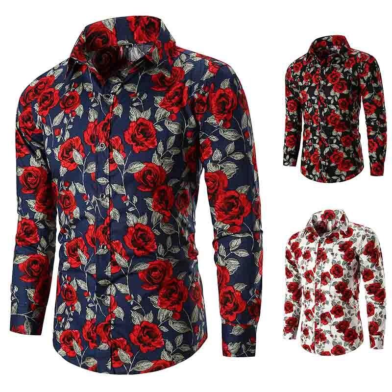 Hawaiian Beach Summer Shirt New Men's Long Sleeve Casual Shirt Fashion Rose Flower 3D Printed Floral Shirt Turn-down Collar Sli