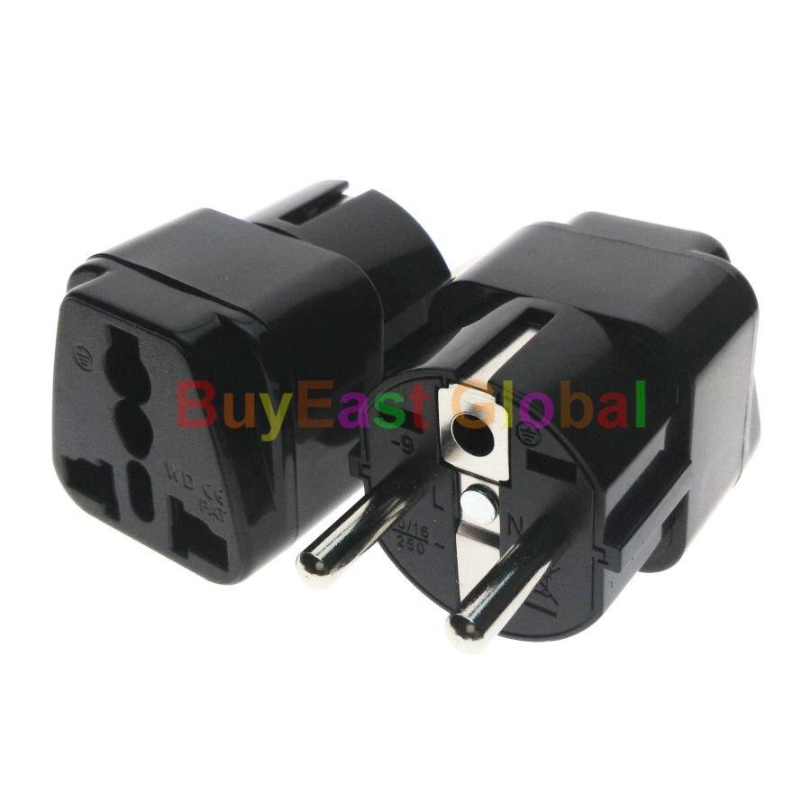 (6 PCS) Universal à Schuko Allemand Français Corée Russie UE Prise Électrique Adaptateur AC100 ~ 250 V 10A noir Couleur