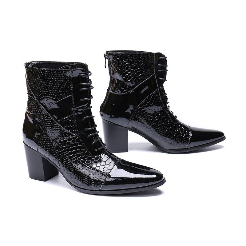 Chaussures hommes 7 CM talons hauts botas hombre chaussures d'hiver hommes noir véritable cuir combat chelsea bottes acier orteil chaussures militaires-in Bottes chelsea from Chaussures    3