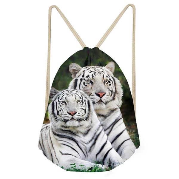 Noisydesigns Cool Animal 3D Tiger Printed Men s Small Drawstring Bag Travel Men Backpack String Shoes