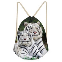 Noisydesigns Cool Animal 3D Tiger Printed Men's Small Drawstring Bag Travel Men Backpack String Shoes/Bags Storage Shoulder Bags