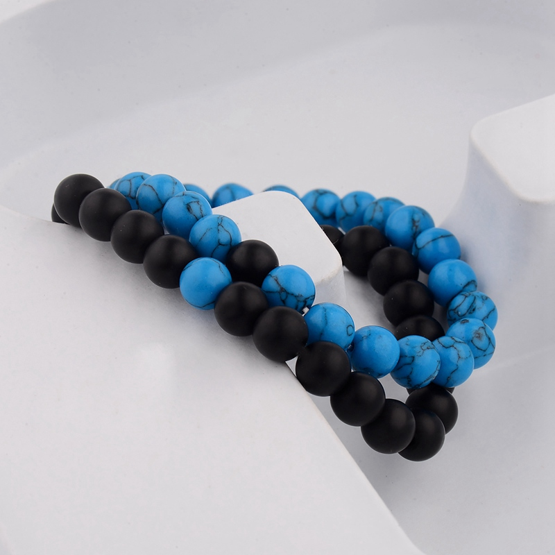 Amader 2PCS/L Distance Bracelet For Women Men Blue&Black Stone Yoga Energy Beaded Couple Bracelets Men Gifts Ladies WAB241