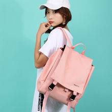 Girl backpack large capacity Korean style Zipper None Canvas Solid Pink Vintage backpacks for teenage girls mochila bookbags