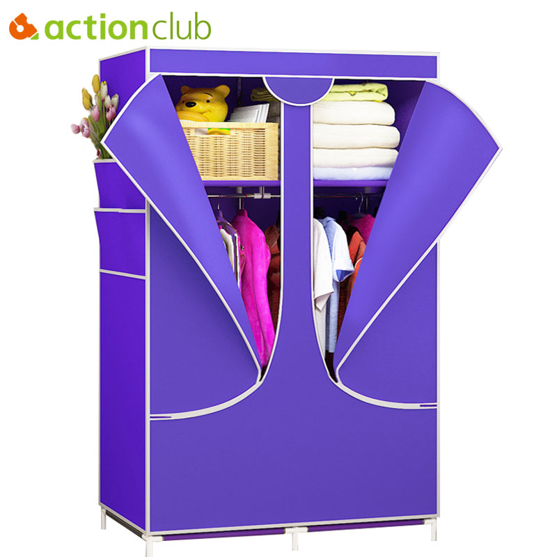 Actionclub Fashion Non-woven Closet Fabric Wardrobe Folding Cloth Cabinet Large Storage Cloth Wardrobe Closet Bedroom Furniture купить в Москве 2019