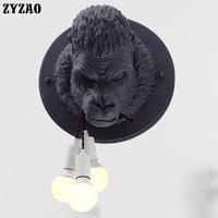 Nordic Resin Gorilla Wall Lamps Modern Led Wall Light Fixtures for Home Deco Industrial Loft Bedroom Bedside Lamp Bathroom Light