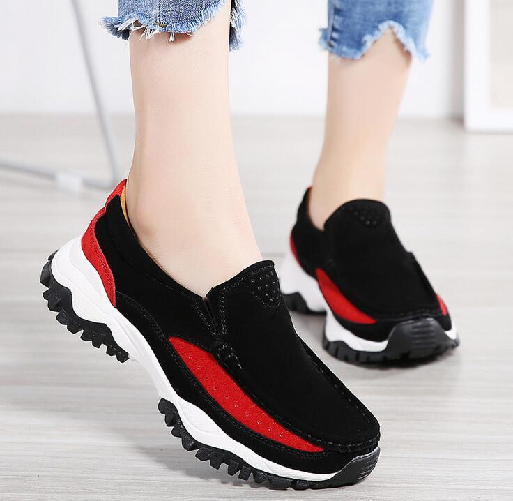 Women Genuine leather Shoes 2019 Fashion Women Casual Ladies Sneakers Women wear breathable shoes Feminino Platform Sneakers strappy tie up flat sandals