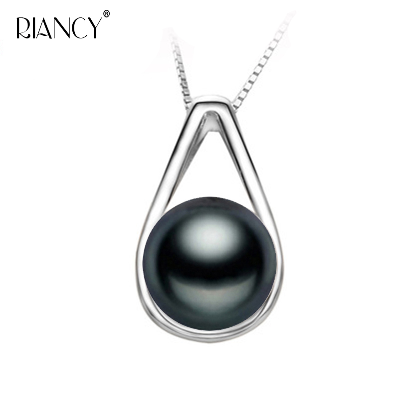 Wholesale Price Freshwater Black Pearl Pendants 100% Natural Pearl Necklace 925 Sterling Silver Chain Fashion Jewelry