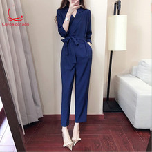 Spring 2019 new one-piece cargo pants high waist loose bf casual wide-leg summer womens wear