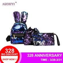 3 шт./компл. для женщин кроличьи уши мини блёстки Рюкзак Мода обувь для девочек вечерние клатч Наплечные сумки Высокое качество женский